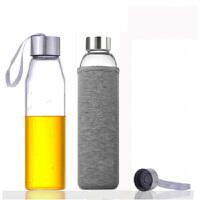 550ml��d玻璃杯 耐�岵A�水瓶 �V泉水瓶 ���w茶杯水杯透明��d水瓶�\�幽�岜�子���w男茶 杯套�色�S�C 4
