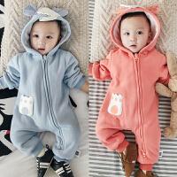 秋冬婴儿连体衣服 宝宝双层加厚卫衣新生哈衣 大象拉链保暖外出服