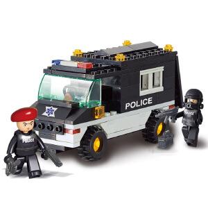 【当当自营】小鲁班防暴特警系列儿童益智拼装积木玩具 巡逻车M38-B1600