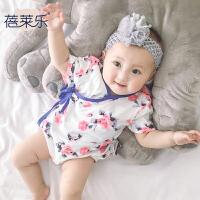 婴儿童连体衣服新生儿季1岁3个月薄款款三角哈衣潮新年