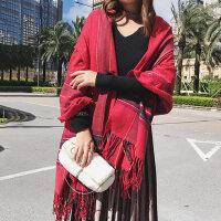 韩版百搭潮学生长款几何条纹仿羊绒加厚保暖披肩围巾女