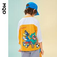 【2件3.5折券后预估价:92】MQD童装男童长袖T恤21春装新款中大童撞色卡通上衣儿童体恤活力橙