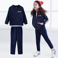 秋冬新款童装女童套装2017韩版儿童纯棉拉链衫中大童运动两件套