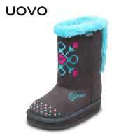 UOVO2017新款童鞋秋冬季童靴女童休闲靴保暖雪地靴  水晶