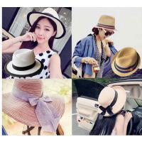 出游度假可折叠女遮阳帽 新款太阳帽沙滩帽子女士草帽 大檐帽防晒宽檐花礼帽