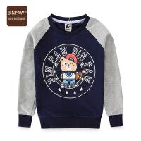【当当价2件1.5折到手价:55.5元】BINPAW家男童长袖T恤 秋季新款韩版潮流帅气男童卡通小熊上衣