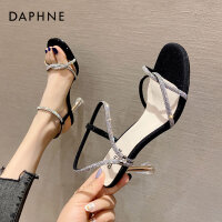 达芙妮凉鞋2021年新款女夏细跟仙女风高级感一字带时装水钻高跟鞋