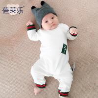 婴儿童连体衣服季春款长袖哈衣8个月1岁宝宝新生儿外出衣服