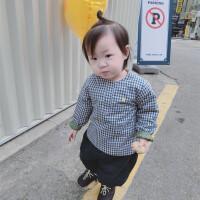女小童夹棉衬衫17冬婴幼儿童格子加棉长袖衬衫宝宝棉衬衣加厚外套