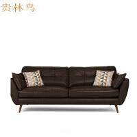 仿真皮沙发组合北欧风格小户型客厅咖啡馆简约复古单人双人三人位办公皮沙发T