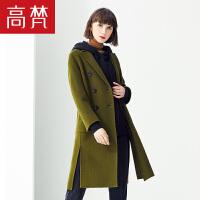 高梵2018秋冬新款韩版中长款过膝毛呢外套潮韩版双面呢羊毛大衣女