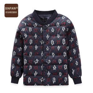 【3件2折价:62元】BINPAW家儿童羽绒服 2019新款儿童时尚满印图案白鸭绒羽绒外套