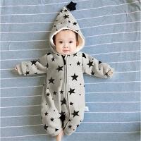 婴儿连体衣服加厚新生儿宝宝外出冬季6新年冬装3外套装棉衣0个月1