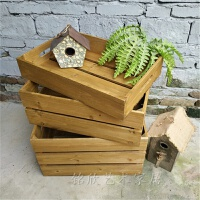 实木收纳箱复古做旧储物箱摆设陈列木箱水果木框箱橱窗装饰道具箱