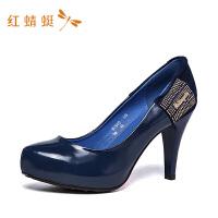 红蜻蜓女鞋春季新款真皮职业鞋子百搭不磨脚高跟皮鞋女单鞋-