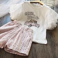 韩国童装女童喇叭袖纯棉T恤+蕾丝短裤儿童韩版公主套装2018夏装新