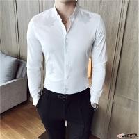 2017秋新款时尚英伦印花 时尚潮休闲男士修身衬衣 长袖衬衫