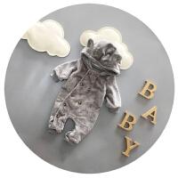 婴儿衣服冬季宝宝连体衣秋冬加绒加厚3-6-9个月新生儿冬装哈衣潮
