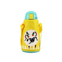 熊本士(KUMAMOT)儿童保温杯带吸管男女学生水壶水杯316不锈钢600ml