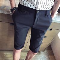 夏季型男薄款休闲裤男士韩版修身免烫西服贴身显瘦青年五分裤短裤
