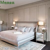 卧室ins床头柜简约现代实木镜面轻奢床边小柜子收纳柜欧式家具 整装