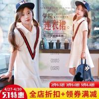 女童学院风2018夏季新款韩版童装中大儿童纯棉水手学生短袖连衣裙