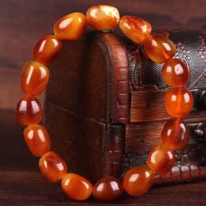 蜜蜡满蜡红皮原石手串 直径11mm 重量12.83g