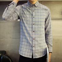 春季男装长袖衬衫男休闲大码格子韩版修身商务衬衫青少年男衬衣潮