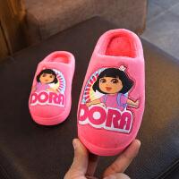 儿童棉拖鞋秋防滑室内公主女童棉拖鞋可爱冬天保暖5-12岁小孩中大童