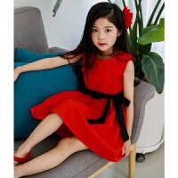女童红色连衣裙夏公主裙中大童无袖沙滩裙背心裙儿童度假裙表演裙