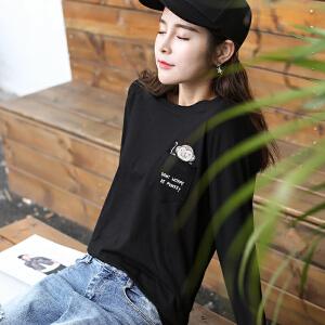 2018秋冬季新款女装秋装韩版宽松长袖T恤女百搭卡通印花外穿上衣服打底