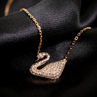 施华洛世奇Swarovski女士水晶天鹅玫瑰金色锁骨项链礼物5121597