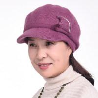 兔毛混纺保暖百搭妈妈帽子 户外护耳奶奶加厚毛线帽 中老年人双层帽子女
