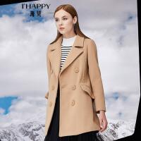 海贝年冬季新款女 翻领双排扣中长款毛呢大衣