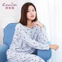 康妮雅睡衣女长袖卡通圆领薄款套装居家休闲撞色宽松家居服