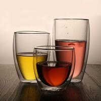 双层玻璃杯隔热透明蛋形茶杯450ml创意水杯耐热咖啡杯果汁饮料杯 水杯 杯子