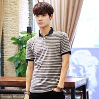 POLO衫男日系条纹短T恤2018夏季韩版修身小翻领男T恤短袖潮上衣