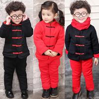 儿童装男童女童加厚中国风宝宝唐装新年棉衣套装冬装A734 AA