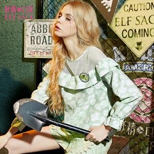 妖精的口袋花吉他春秋款欧根纱网纱拼接时尚印花蕾丝衫上衣女长袖