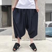 夏季新款细条纹宽松阔腿休闲裤子潮男装尼泊尔垂感八分裤沙滩裤