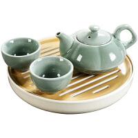 窑茶壶陶瓷功夫茶具一壶两杯四杯干泡茶盘套装家用茶台茶杯