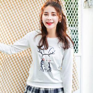 秋冬季长袖t恤女上衣宽松百搭小衫韩版学生体恤秋装新款打底衫
