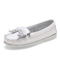 韩版新款小白鞋 流苏护士鞋平底孕妇妈妈鞋 平跟单鞋白色休闲女鞋 白色