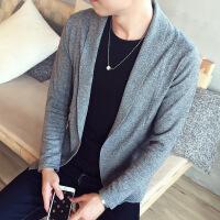 时尚韩版男士纯色开衫针织衫