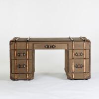 奇居良品 美式家具牛皮拼接卡其色防水麻质书房书桌办公桌