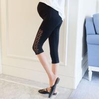 孕妇裤子夏装2018新款蕾丝镂空打底裤薄款七分裤宽松外穿托腹裤子
