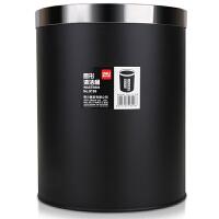 得力9199 办公家居经典圆形直桶不锈钢垃圾桶/纸篓/清洁桶 黑色 带压圈