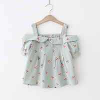 女童T恤 2018夏季新款宝宝露肩短袖T恤 樱桃印花娃娃衫甜美