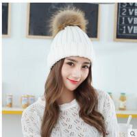时尚帽子女韩版百搭甜美可爱加大毛球护耳针织加厚毛线帽子