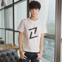 小清新男装韩版男士圆领短袖T恤字母印花打底衫潮牌体恤上衣服